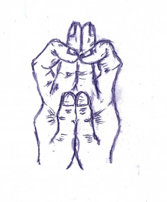 手のひらを合わせ、指を絡ませて作る「兵(びょう)の印」