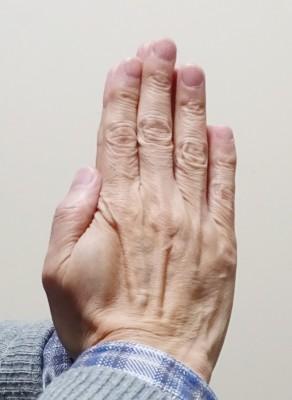 まず、両手の手のひらを合わせ、合掌します