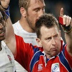 Referee Nigel Owens sin bins England's Marland Yarde during the first rugby union test match against New Zealand's All Blacks at Eden Park in Auckland